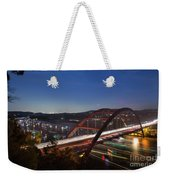Nighttime Boats Leave Colorful Streaks As They Cruise Up And Down Lake Austin Below The 360 Pennybacker Bridge Weekender Tote Bag