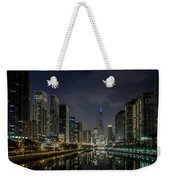 Nighttime Chicago River And Skyline View Weekender Tote Bag