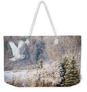 Snowy Owl Flight Weekender Tote Bag