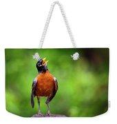 North American Robin In Song Weekender Tote Bag