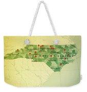 North Carolina Map Square Cities Straight Pin Vintage Weekender Tote Bag