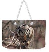 Northern Hawk Owl Having Lunch 9416 Weekender Tote Bag