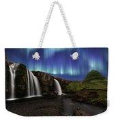 Northern Lights At Kirkjufellsfoss Waterfalls Iceland Weekender Tote Bag