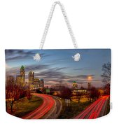 November Sun Setting Over Charlotte North Carolina Skyline Weekender Tote Bag