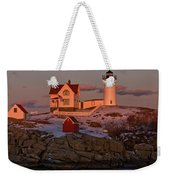 Nubble Light At Sunset Weekender Tote Bag by Paul Mangold
