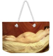 Nude Lying On A Sofa Against A Red Curtain Weekender Tote Bag