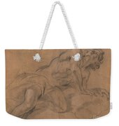 Nude Youth Leaning On A Cloud And Gazing Upward Weekender Tote Bag