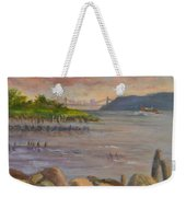 Ny Skyline And Gwb From Hastings On Hudson Weekender Tote Bag