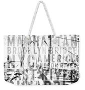 Nyc Brooklyn Bridge Typography No2 Weekender Tote Bag by Melanie Viola