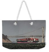 Nyl Line Container Ship By Bay Bridge In San Francisco, California Weekender Tote Bag