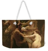Nymphs And Satyr Weekender Tote Bag by William Adolphe Bouguereau