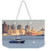 Nypd Patrol Boat In East River Weekender Tote Bag