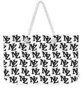 Nz New Zealand Black On White Weekender Tote Bag