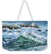 Ocean Waves And Pelicans Weekender Tote Bag