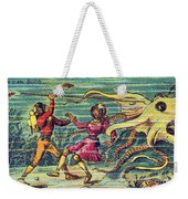 Octopus Attack, 1900s French Postcard Weekender Tote Bag