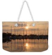 Of Yachts And Cormorants - A Golden Marina Morning Weekender Tote Bag
