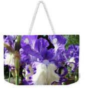 Office Art Prints Irises Purple White Iris Flowers 39 Giclee Prints Baslee Troutman Weekender Tote Bag