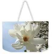 Office Art Prints White Magnolia Flower 66 Blue Sky Giclee Prints Baslee Troutman Weekender Tote Bag