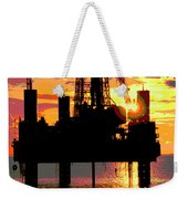 Offshore Drilling Rig Sunset Weekender Tote Bag