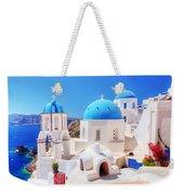 Oia Town On Santorini Island Greece Aegean Sea Weekender Tote Bag