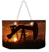 Oil Rig Pump Jack Silhouetted By Setting Sun Weekender Tote Bag