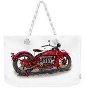Old 1930's Indian Motorcycle Weekender Tote Bag by Mamie Thornbrue