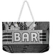 Old Bar Sign Livingston Montana Black And White Weekender Tote Bag