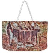Old Barn Outhouse Falling Apart In Decay And Dilapidation Rotting Wood Overgrown Mountain Valley Sce Weekender Tote Bag