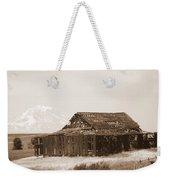 Old Barn With Mount Hood In Sepia Weekender Tote Bag