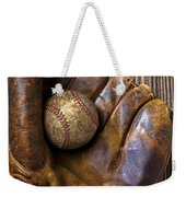 Old Baseball Mitt And Ball Weekender Tote Bag