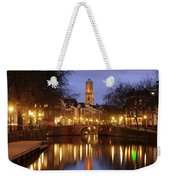 Old Canal And Dom Tower In Utrecht In The Evening 16 Weekender Tote Bag