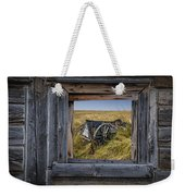 Old Farm Wagon Viewed Through A Barn Window Weekender Tote Bag