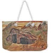Old Farmhouse With Hay Stack In A Snow Capped Mountain Range With Tractor Tracks Gouged In The Soft  Weekender Tote Bag