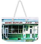 Old Gas Station Green Tile Weekender Tote Bag