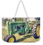 Old Green Vintage Tractor Watercolor Weekender Tote Bag