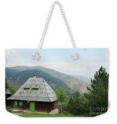 Old Log Cabin On Mountain Landscape Weekender Tote Bag