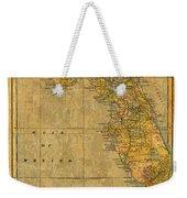 Old Map Of Florida Vintage Circa 1893 On Worn Distressed Parchment Weekender Tote Bag