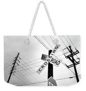 Old Midwest Railroad Warning Crossing Sign And Stop Sign At Dawn Weekender Tote Bag