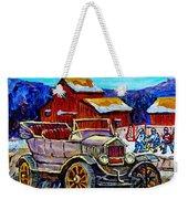 Old Model T Car Red Barns Canadian Winter Landscapes Outdoor Hockey Rink Paintings Carole Spandau Weekender Tote Bag