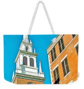 Old North Church Tower In  Boston-massachusetts Weekender Tote Bag