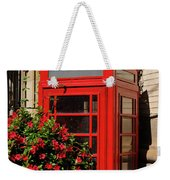 Old Red Telephone Box Or Booth Surrounded By Red Flowers In Toro Weekender Tote Bag