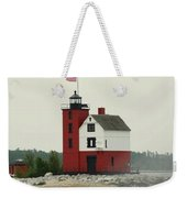 Old Round Island Point Lighthouse Michigan Weekender Tote Bag