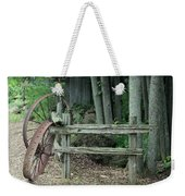 Old Rusty Wagon Wheels And Weathered Fence Weekender Tote Bag