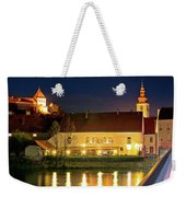 Old Town Of Ptuj Evening Riverfront View Weekender Tote Bag