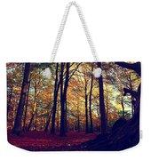 Old Tree Silhouette In Fall Woods Weekender Tote Bag