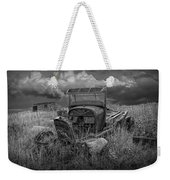 Old Truck Abandoned In The Grass In Black And White At The Ghost Town By Okaton South Dakota Weekender Tote Bag