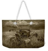 Old Truck Abandoned In The Grass In Sepia Tone Weekender Tote Bag