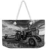 Old White Tractor In The Field Weekender Tote Bag