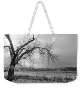 Old Winter Tree Grayscale Weekender Tote Bag