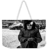 Old Women Selling Woollen Socks On The Street Monochrome Weekender Tote Bag